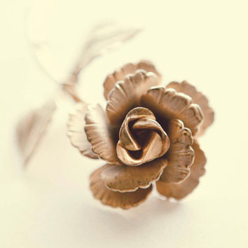 everlasting rose vintage boutonniere/pin gold by whichgoose