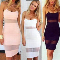 Women's Fashion Night Club Sexy Spaghetti Strap Slim Fit Low Cut Evening Cocktail Party Dress  _ 3170