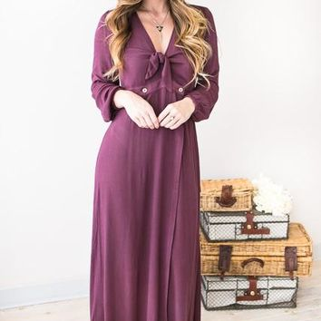 Falling Freely Dusty Plum Maxi Dress