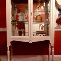 Vintage 1040's China Cabinet Hand Painted Antique White and Distressed
