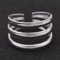 Three Band Silver Toe Ring