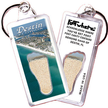 Destin, FL FootWhere® Souvenir Keychain. Made in USA