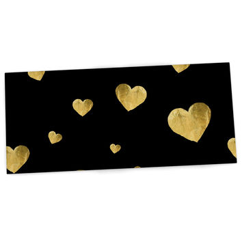 "Robin Dickinson ""Floating Hearts"" Gold Black Desk Mat"