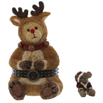 Boyds Bears Resin Rudolph With Jolly Mcnibble Christmas Figurine