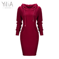 Casual Women Hoodies Dress Long Sleeve Sweatshirt Warm Drawstring Pocket Plain Fleece Lined Long Yilia Bodycon Dresses Plus Size