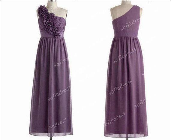 One Shoulder Bridesmaid Dresses, Purple From Sofitdress On