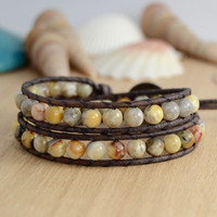 Beaded wrap bracelet. Earthy agate beads, leather jewelry