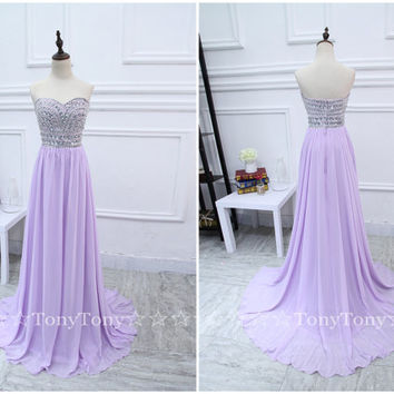 Sweetheart neck Beaded Bodice Lilac Chiffon Prom Dresses,Long Party Dresses,Strapless Formal Gowns