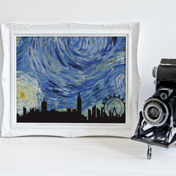Starry Night - London, PRINTABLE, Van Gogh wall art print, unique London decor, London skyline print, starry night office study home decor