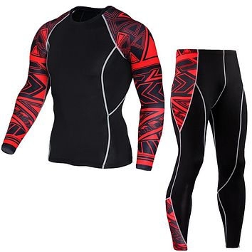 Long Sleeve Rash Guard Complete Graphic Compression T-Shirt Multi-use Fitness MMA Tops Shirts Men Suits Leggings Brand Clothing