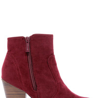 Heydays Wine Red Suede Ankle Boots