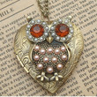 Steampunk Pearl Owl Locket Necklace Vintage Style by sallydesign