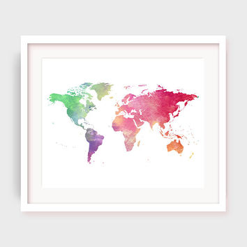 World Map Print, Printable World Map in Watercolor, Home Decor, Travel Artwork, Travel Print, Map of the World Art, Travel Poster, Digital