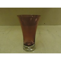 Designer Flower Vase 8in H x 5in D Plum Modern Round Curved Glass -- New