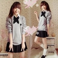 5 Pieces Set British Style School Uniform Best Japanese Cosplay Uniform Girl's Student Uniform Sweater Shirt Bow tie Skirt Socks-in School Uniforms from Apparel & Accessories on Aliexpress.com | Alibaba Group