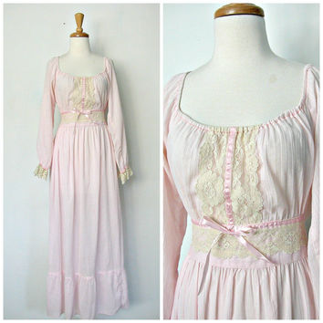 1970s Maxi Dress / 70s dress / pink party dress / boho wedding dress / off the shoulder  / tea length dress / womens dress medium / medium