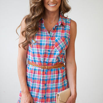 Kick The Dust Up Sleeveless Shirt Dress Dress - Plaid