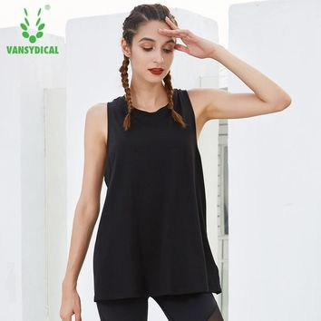 Vansydical Sports Yoga Vest Women's Gym Shirts Tops Sleeveless Breathable Back Split Hollow Fitness Workout Running Tank Top