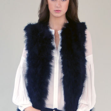 Black Ostrich Feather Vest