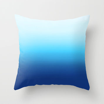 Dip Dye Ombre (turquoise) Throw Pillow by Natalie Baca