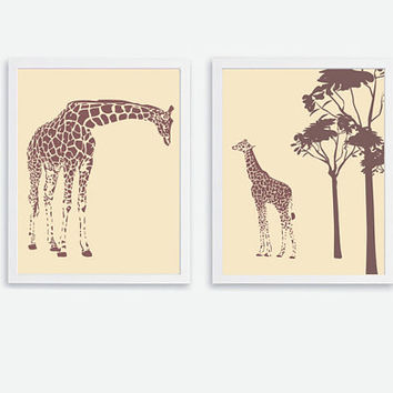 Printable Giraffe set of 2 Instant Download Mom & Baby Giraffe Wall Art, Baby, Kids, Children, Nursery Art Print Jungle Safari Animals