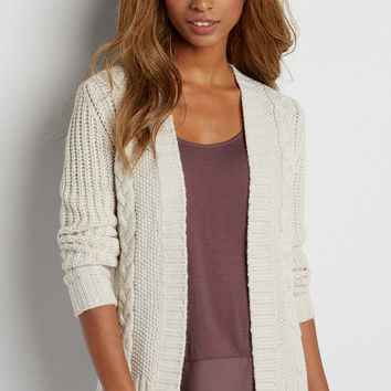 thick cable knit cardigan with subtle shimmer | maurices