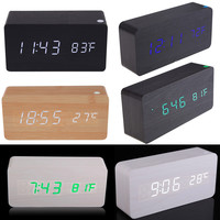 Rectangle Digital LED Desktop Clock Vintage Wooden Digital Alarm Clock Calendar Thermometer Display for Home Office