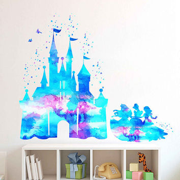 kcik1982 Full Color Wall decal Watercolor Character Disney Castle Disney Princesses Snow White Aurora Cinderella Sticker