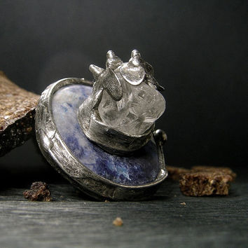 Jewelry by AMW - Natural Stone Huge Raw Quartz Crystal and Sodalite Ring - Moon Ring - Alien