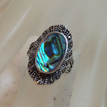 Sterling Silver Abalone Ring with Hematite Stones