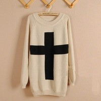 Beige Cross Long Sleeve Round Neck Sweater