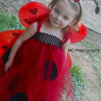 Ladybug tutu dress costume with headband and wings