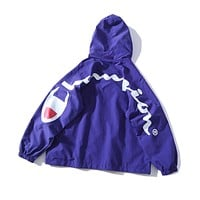 Champion street fashion men's and women's windbreaker back large logo hooded jacket Purple