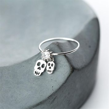 Skull Ring Anillos Real 925 Silver Boho Jewelry Charm Minimalism Birthday Gift Haut Femme Bague Femme Aneis Punk Rings for Women