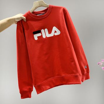 Fila fashion casual embroidered logo couples round collar sweater