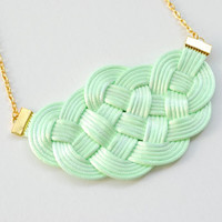 Mint and gold sailor knot necklace, knotted cords, honeydew, pale green, summer, pastel, rope jewelry