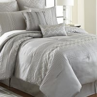 8 Piece Embroidered Comforter Set (Queen)
