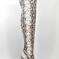 Python Snake Print Slouchy Shaft Pointy Toe OTK Thigh Boot High Heel