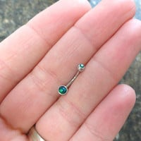 Blue and Emerald Green Fire Opal Eyebrow Ring Rook Ear Piercing