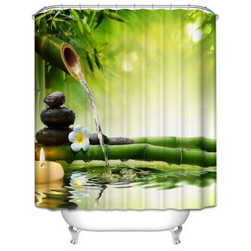 SPA Waterproof Shower Curtain Bathroom Decor Jasmine Flower Decorations Green Bamboos Fall Trees Star Fish Sea Shell