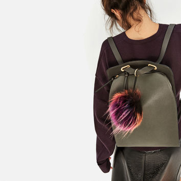 POMPOM CROSSBODY BACKPACK DETAILS