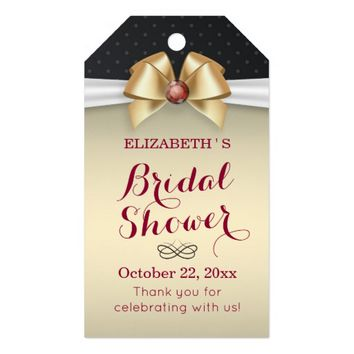 White Gold Ribbon Bridal Shower Thank You Gift Tag