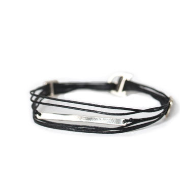 D'or 925 Sterling Silver Bar & Buckle 8'' Black Wax Nylon Cord Bracelet