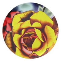 Colorful Artistic Yellow Rose Plate