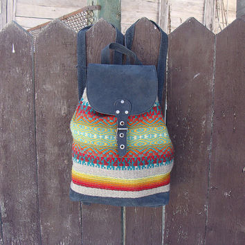 Black leather boho backpack, handwoven wool backpack, black leather backpack, bohemian backpack, holiday backpack, kilim backpack