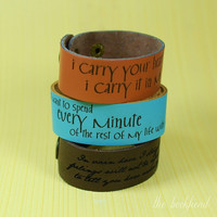 """Your favorite quote --- custom engraved 1"""" leather bracelet"""