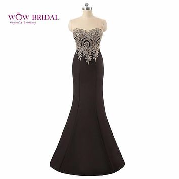Wowbridal Sweetheart  Mermaid Evening Dress Sleeveless Gold Appliques Scoop Illusion Neck Floor Length Elegant Formal Gown