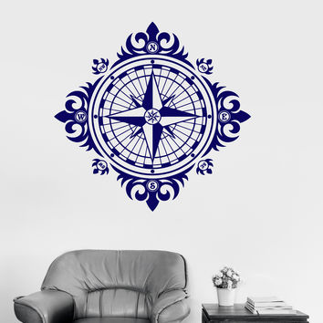 Wall Decal Wind Rose Vintage Nautical Decor Decoration Room Vinyl Stickers (ig3007)