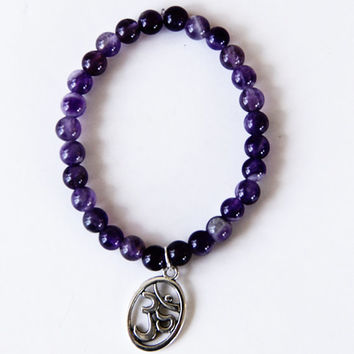 Amethyst Om Bracelet - Yoga Stretch Beaded Bracelet - Namaste - Crown Chakra 3rd Eye Chakra  Mala