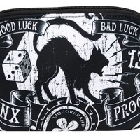 Liquorbrand Jinx Proof Halloween Black Cat Luck Goth Gothic Cosmetic Bag Pouch